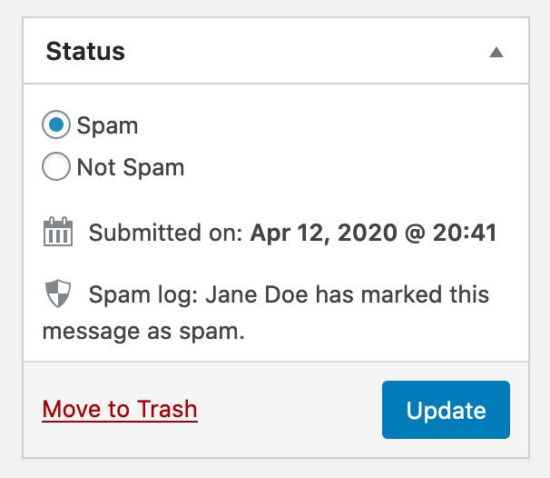 Captura de pantalla del cuadro meta Estado;  Los botones de opción Spam y Not Spam están ahí.