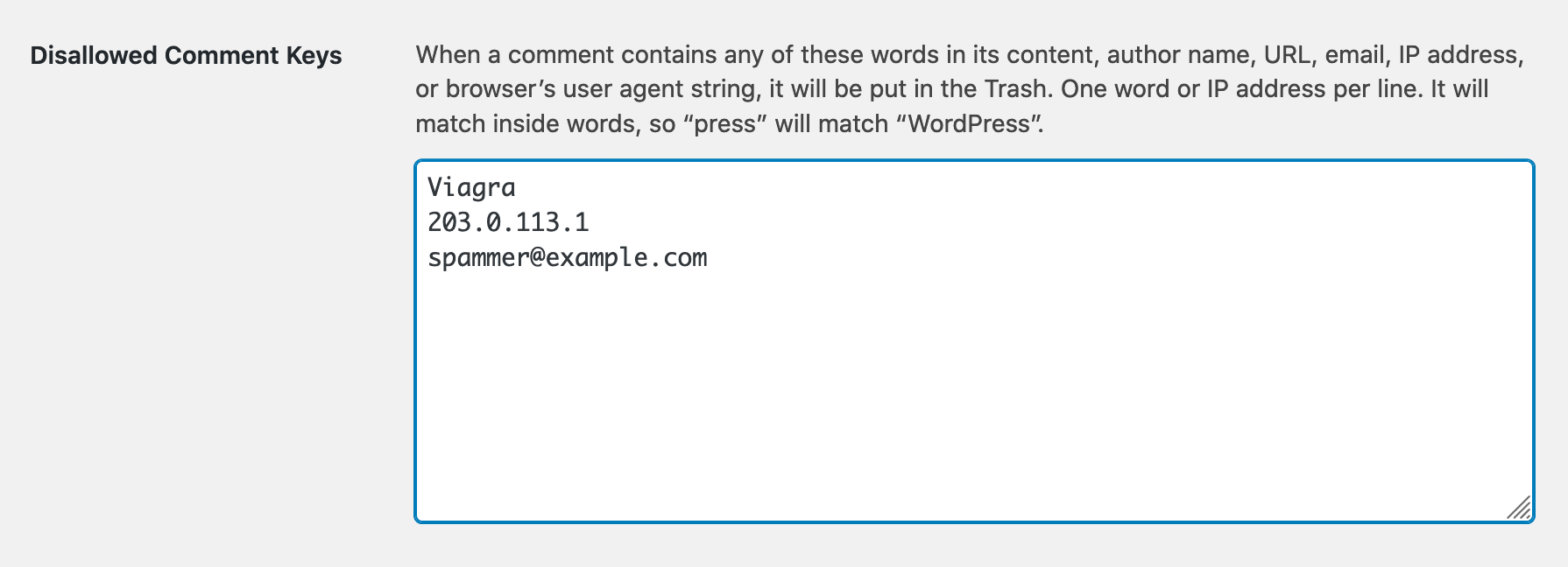 Screenshot of the Disallowed Comment Keys section