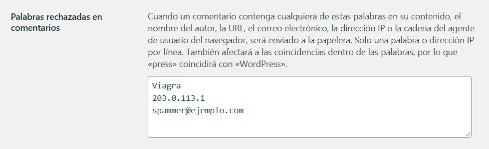 Captura de pantalla de la característica de Palabras rechazadas en comentarios de WordPress.