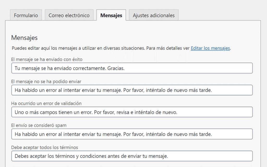 Imagen de captura de pantalla de la pestaña Mensaje del editor de formularios
