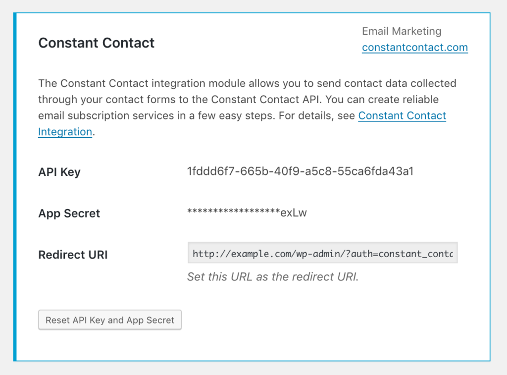 Screenshot of Constant Contact Integration box after authorization