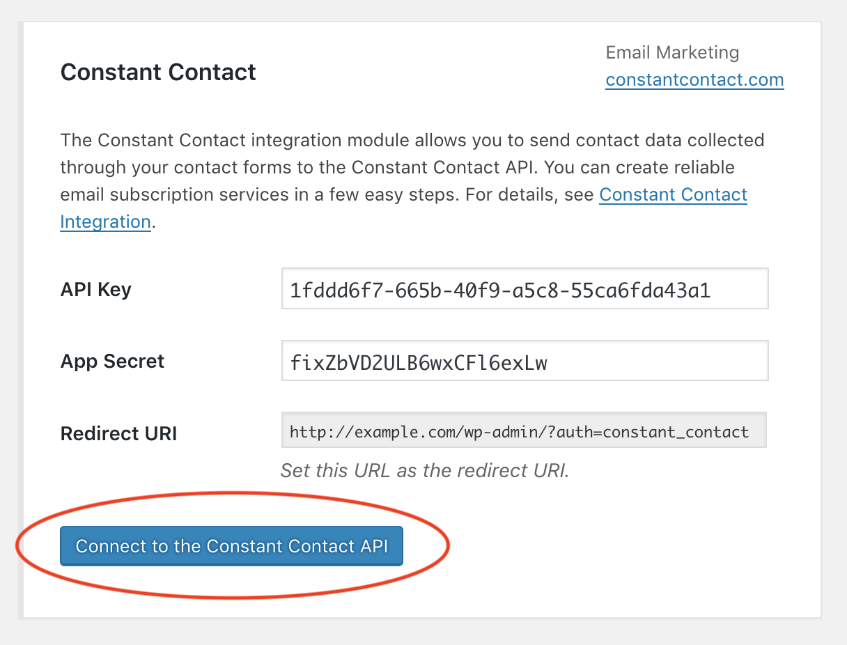 Screenshot of the Connect to the Constant Contact API button