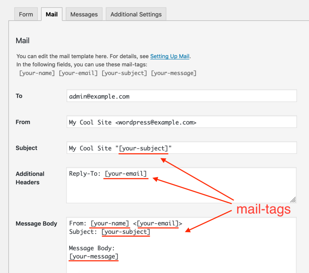A screenshot image shows mail-tags used in the Mail tab panel.