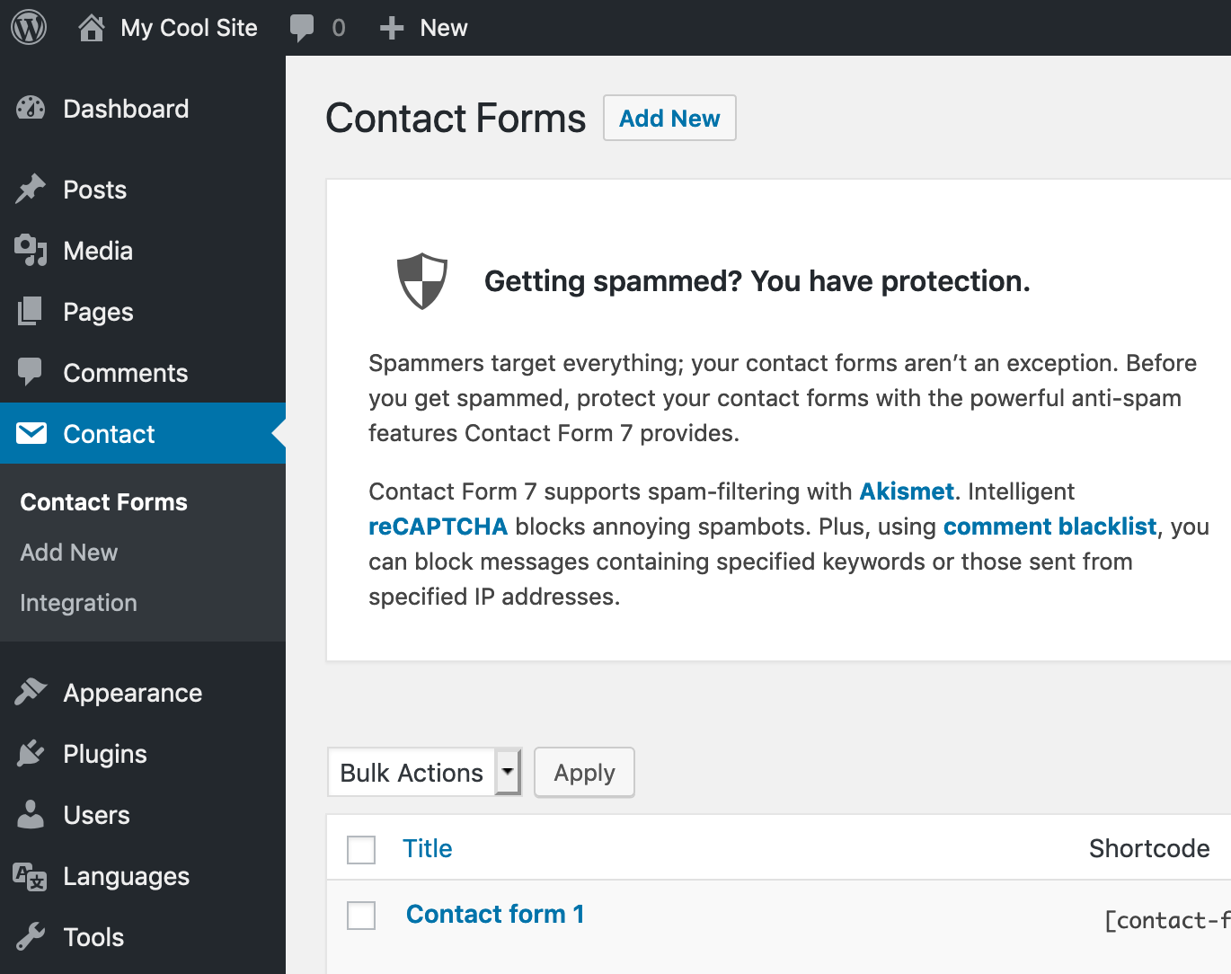 A screenshot image shows the location of the admin menu for Contact Form 7's settings page.